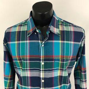 J. Crew Button Up Shirt Summer Plaid Blue Slim XL
